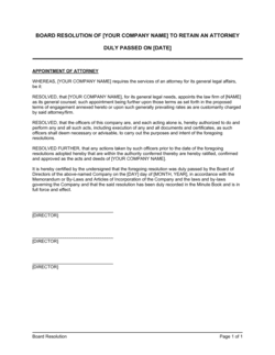 Board Resolution to Retain an Attorney