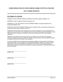 Board Resolution to Settle Litigation