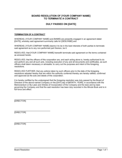 Board Resolution to Terminate a Contract