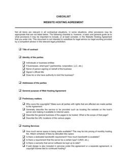 Checklist Website Hosting Agreement