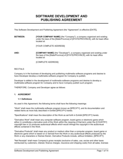 Software Development and Publishing Agreement