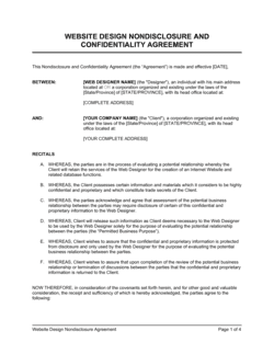 Website Design Non-Disclosure Agreement