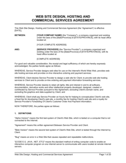 Website Design, Hosting and Commercial Services Agreement