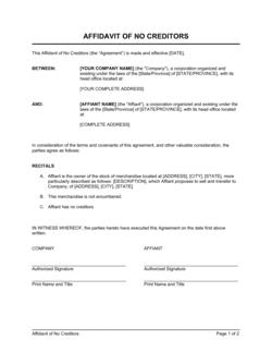 Affidavit of No Creditors