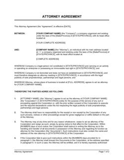 Attorney Agreement