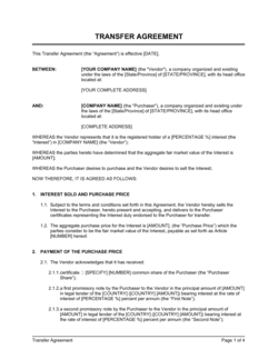 Transfer Agreement Intercompanies