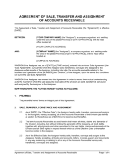 Agreement of Sale, Transfer & Assignment of Accounts Receivable