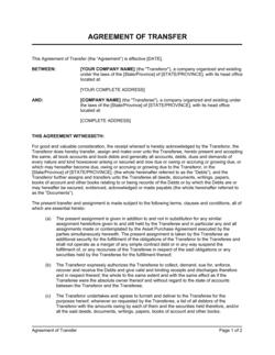 Agreement of Transfer