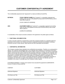 Customer Confidentiality Agreement