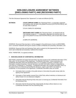 Non-Disclosure Agreement Between Two Companies