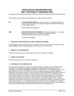 Articles of Incorporation Not for Profit Organization